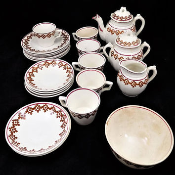 Antique Child's Stick Spatter Pottery Tea Set, Staffordshire Pottery Tea and Dessert Set, 1860s