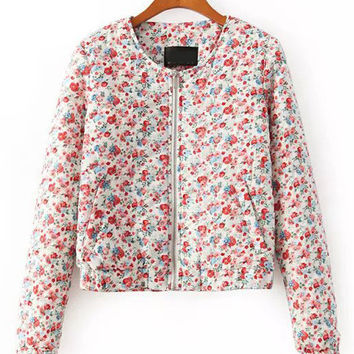 Multi Color Floral Quilted Padded Jacket