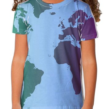 Cool World Map Design Toddler T-Shirt Single Side All Over Print
