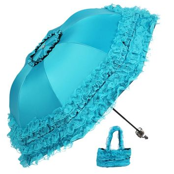 4 Colors High Quality Women Sun Rain Umbrella Anti-UV Waterproof Parasol Folding Umbrella Lovely Princess Lace Sunshade Umbrella