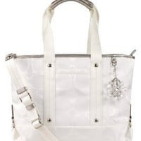 COACH Kyra Signature Nylon Shoulder Tote Crossbody White F19712