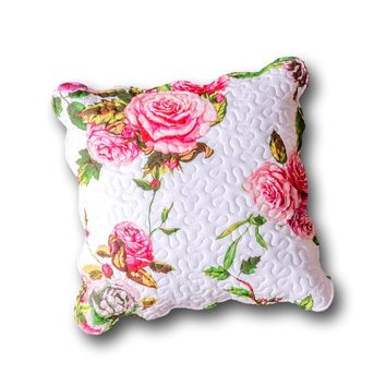 "DaDa Bedding Set of 2 Romantic Roses Spring Floral Pink Throw Pillow Covers, 18"" (JHW879)"