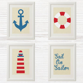 Nautical Wall Art Printable - Nursery or Kid Decor Art - Sea - Sail on Sailor - Blue Red - Anchor - Lighthouse - 4 Files