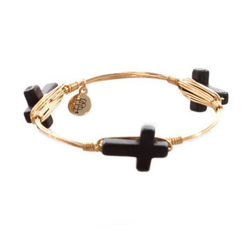 Bourbon and Bowties Medium Black Cross Bangle
