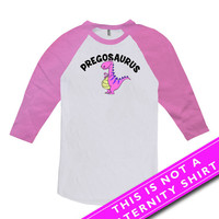 Pregnancy Announcement Shirt Baby Announcement Maternity Tops Pregosaurus Pregnancy Outfits Mom To Be American Apparel Unisex Raglan MAT-573