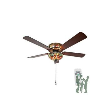 Tiffany Style Stained Glass Halston Ceiling Fan - Spice by River of Goods Item: 16159S