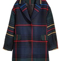 Jacquard-weave coat - Dark blue/Checked - Ladies | H&M GB
