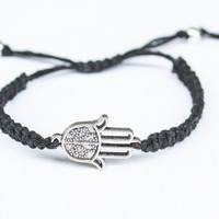 Hamsa Bracelet Hemp or Cotton Cord