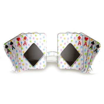 Card Shape Aces Four of A Kind Poker Party Novelty Las Vegas Sunglasses