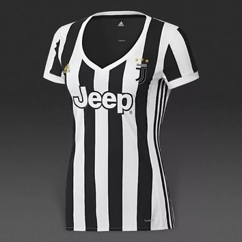 KUYOU Juventus 2017/18 Home Women Soccer Jersey Personalized Name and Number