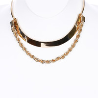 Double Layered Link & Rope Necklace
