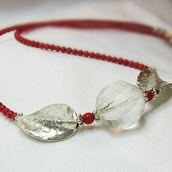 Red coral necklace Faceted crystal Sterling silver by ShopPretties