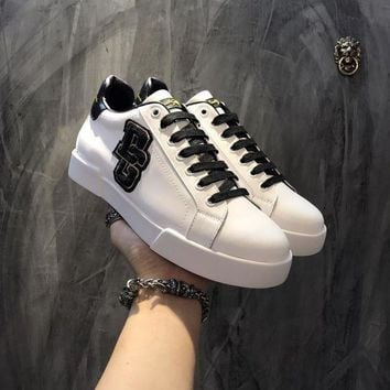 PEAP2Q Dolce & Gabbana D & G Portofino Sneakers In Nappa Calfskin With Patches Cs15875268i705