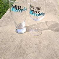 Mr and Future Mrs. Wine Glass Set , His and Her  Glasses , Personalized Glasses, Engagement Gift Set
