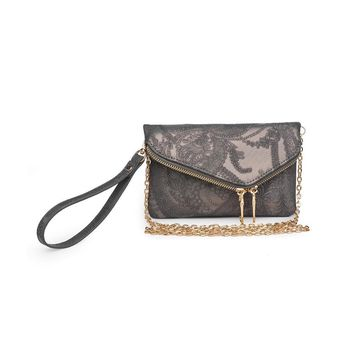 Lucy Wristlet Floral Pewter