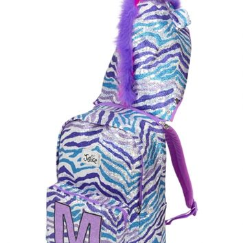 Glitzy Zebra Initial Hooded Backpack