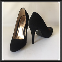 Charlotte Russe Black Suede Shoes Pump Heels Size 7