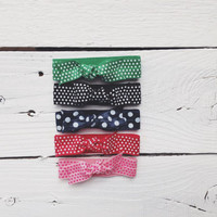 pattern bow hair tie ponytail holders - green black navy red pink polka dot - stretchy no dent no damage fold over