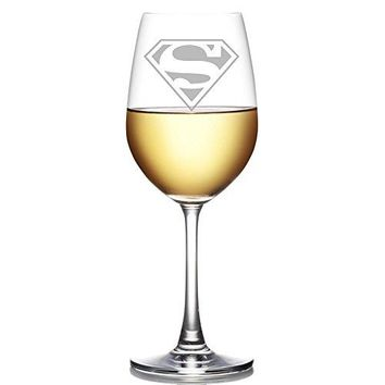 Abby Smith, Superman Engraved 18 oz Wine Glass