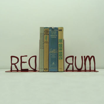 REDRUM Metal Art Bookends  Free USA Shipping by KnobCreekMetalArts