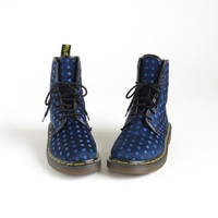 Dr Martens Boot Doc Martens Aesthetic Tumblr Shoe 90s Boot Navy Blue Polka Dot Boot Made in England Vaporwave Women Size US 6, EU 36.5, UK 4