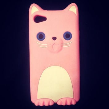 Pink Kitty Iphone 4/4s Phone Case by littledevildecoxo on Etsy