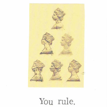 You Rule Card | Mother's Day Vintage Queen Elizabeth Thank You Birthday Royal British England Humor Funny Hipster Minimalist Simple Pun Mom