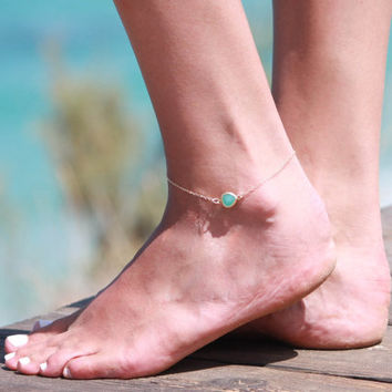 Gold Anklet - Gold Ankle Bracelet - Crystal Anklet - Foot Jewelry - Foot Bracelet - Chain Anklet - Summer Jewelry - Beach Jewelry