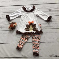 2016 girls Thanksgiving day clothing baby Fall outfits cotton girls boutiques turkey print aztec pant with matching accessories