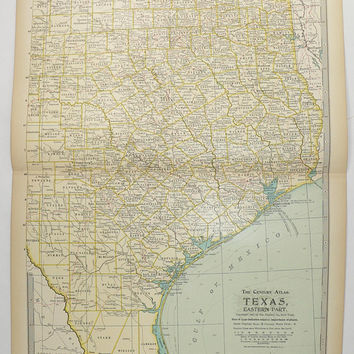 Antique Texas Map 1899 Vintage TX Map East Texas, Decor Art Map, Texas Gift for Guy, Galveston Texas, Gulf Coast Map, Texas Ranch Decor