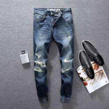 ICIKON3 High street men jeans blue color classical jogger pants top quality destroyed ripped jeans brand designer jeans men