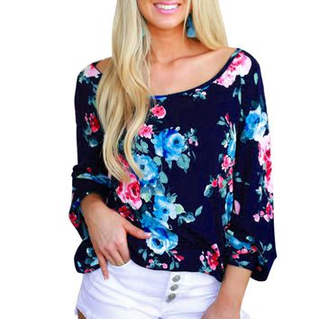 Cropped 2018 Bohemian Blouses Women's Vogue Floral Printed Long Sleeve Shirts Autumn Spring Ladies Loose Casual Tops Blouse #YL