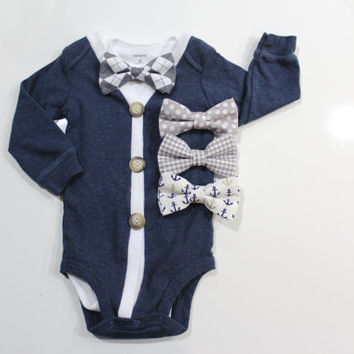 baby cardigan bow tie. 3 month to 24 month boy clothes.  toddler boy outfit.  18 month baby bowties. bowtie cardigan. navy and grey.