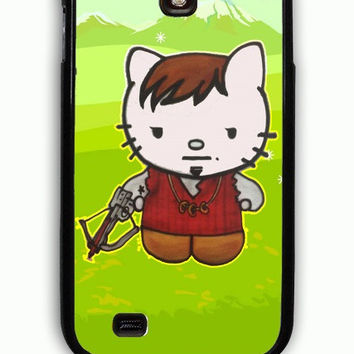 Samsung Galaxy S4 Case - Rubber (TPU) Cover with Daryl Dixon Hello Kitty The Walking Dead Rubber Case Design