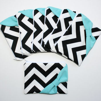Bridesmaid Gift Set / Bachelorette Favors - Cosmetic Cases - Black and White Chevron Tiffany Blue Bows
