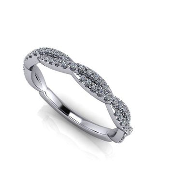 Women's Woven Diamond Band - 14 kt Wedding Band - Platinum Wedding Band