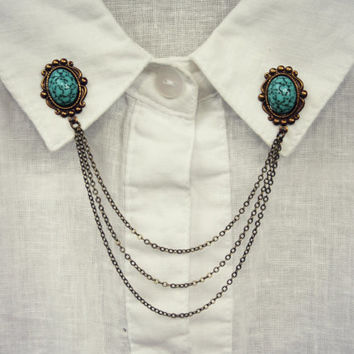 turquoise collar pins in antique brass, collar chain, collar brooch, lapel pin, turquoise pin, turquoise brooch
