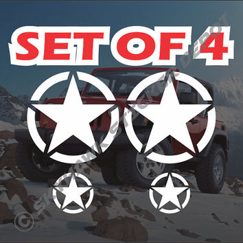 SET Of 4 Army Military Star Sticker Vinyl Decal - Jeep Wrangler 4X4 Cj Tj Jk Hood Door Window Off Road Diesel Bumper Sticker