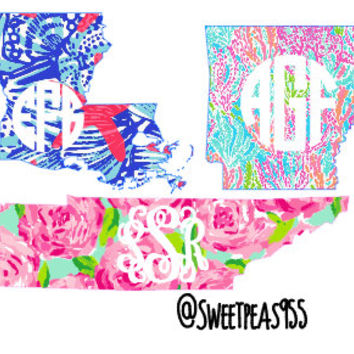 ANY STATE Lilly Pulitzer Monogram State Decal, Monogram decal, State decal, Lilly Pulitzer Monogram, Vinyl Decal