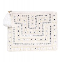 Villa Orchid Embroidered Clutch