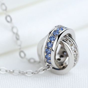 """Cartier""S925 pure silver ornaments The new pendant high-grade sautoir Chain of clavicle double ring necklace"
