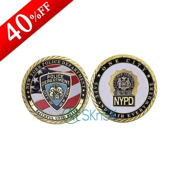 Cheap price medals Unite states flag challenge coins collectibles New York police department gold plated coin for souvenir