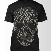 "Wonderland LA - HIGH VOLTAGE TATTOO ""Script Skull"" t-shirt"