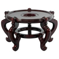 """6"""" Rosewood Wooden Fishbowl Vase Plant Pot Display Stand"""