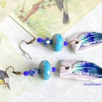 Blue Feather earrings / Boho fashion / Bohemian gypsy Jewelry / Artisan ceramic Glass beads