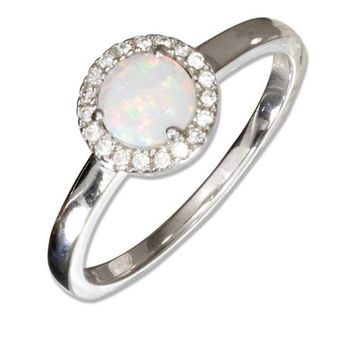 Sterling Silver Round Synthetic White Opal Ring with Micro Pave Cubic Zirconia Halo Engagement Ring