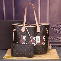 Louis Vuitton LV Popular Women Fashion New Shopping Bag Three Little Animals Print Leather Tote Handbag Shoulder Bag Purse Wallet Set Two-Piece I-OM-NBPF