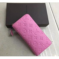 LV Lours Vuitton Women Men Popular Shopping Leather Wallet Purse Pink I