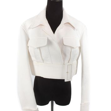 Celine White Cropped Jacket
