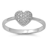 Sterling Silver CZ Heart Engagement Ring size 5-9